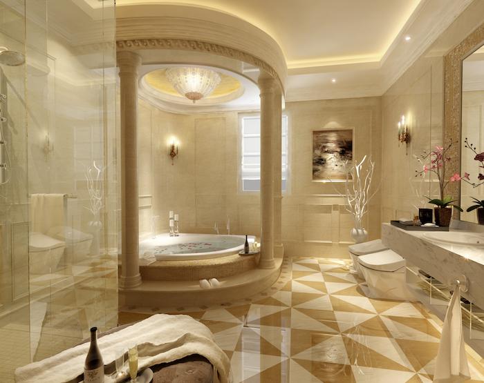 deco salle de bain, paroi en verre, plafond suspendu, éclairage led, peinture mer, cuvette wc blanche