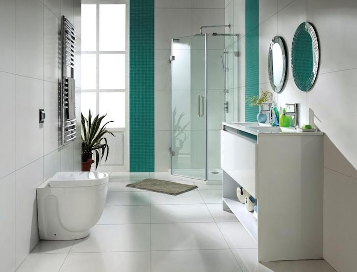 deco salle de bain, plante verte, dallage blanc, porte-serviette, cabine de douche, vase bleue