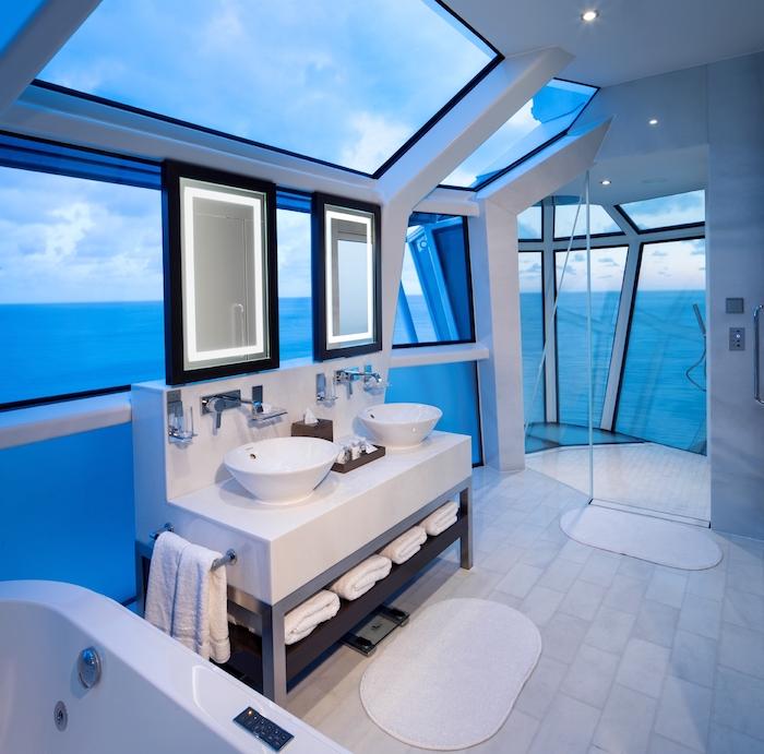 meubles salle de bain, tapis de bain blanc, porte-serviette métallique, miroir cadre noir, paroi en verre