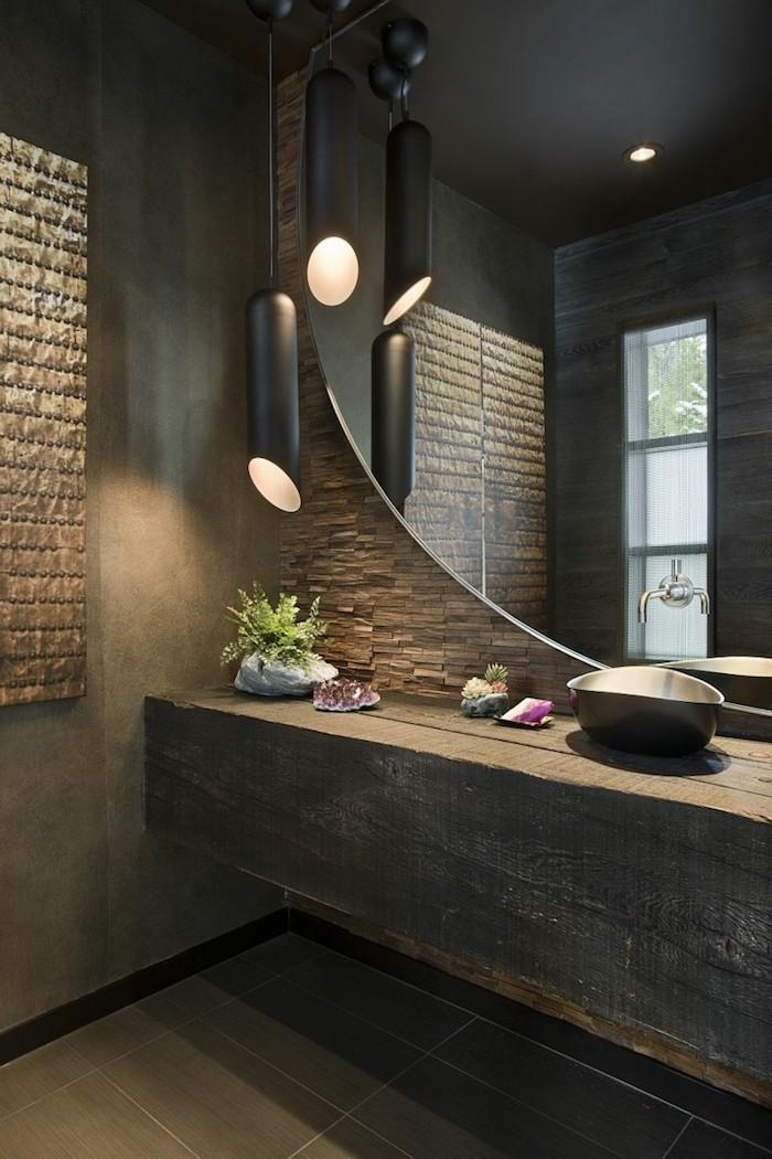 decoration salle de bain, éclairage salle de bain, dallage gris, murs en pierre, lavabo d'acier