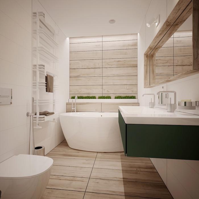 deco salle de bain, ambiance zen, meubles sous vasque verts, étagères blanches, cuvette wc blanche