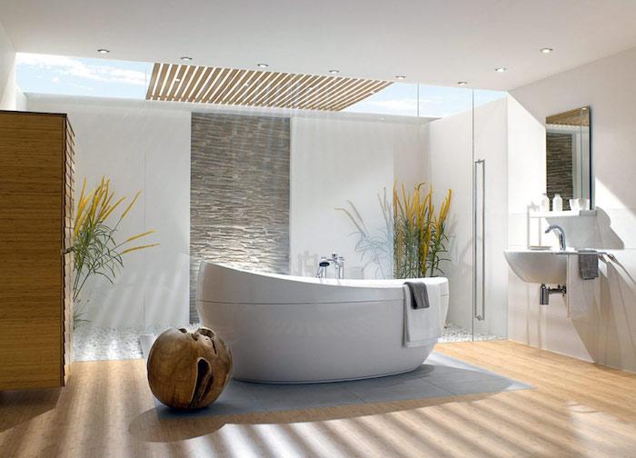 modele salle de bain, murs blancs, garde-robe en bois, espace zen, végétation, robinet en acier