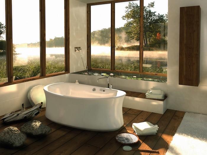 modele salle de bain, ambiance zen, tapis blanc moelleux, piscine décorative zen, baignoire blanche