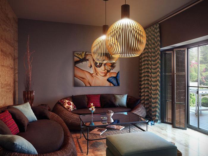 salon au design contemporain d'une ambiance bienveillante crée par l'association des nuances de marron et de terre de sienne