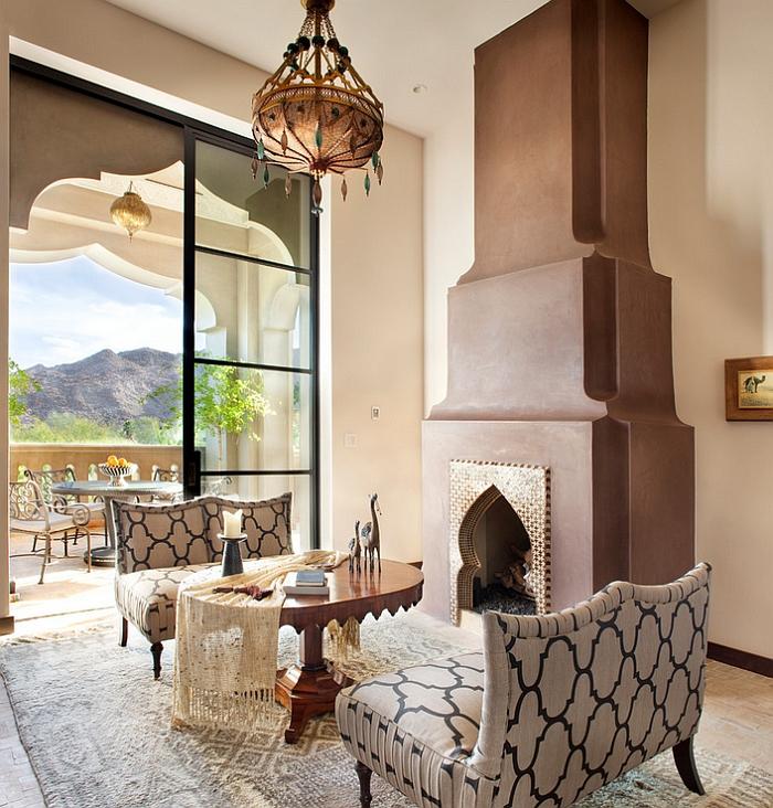 le chic ethnique marocain dans un intérieur contemporain, une suspension d'orient en cuivre