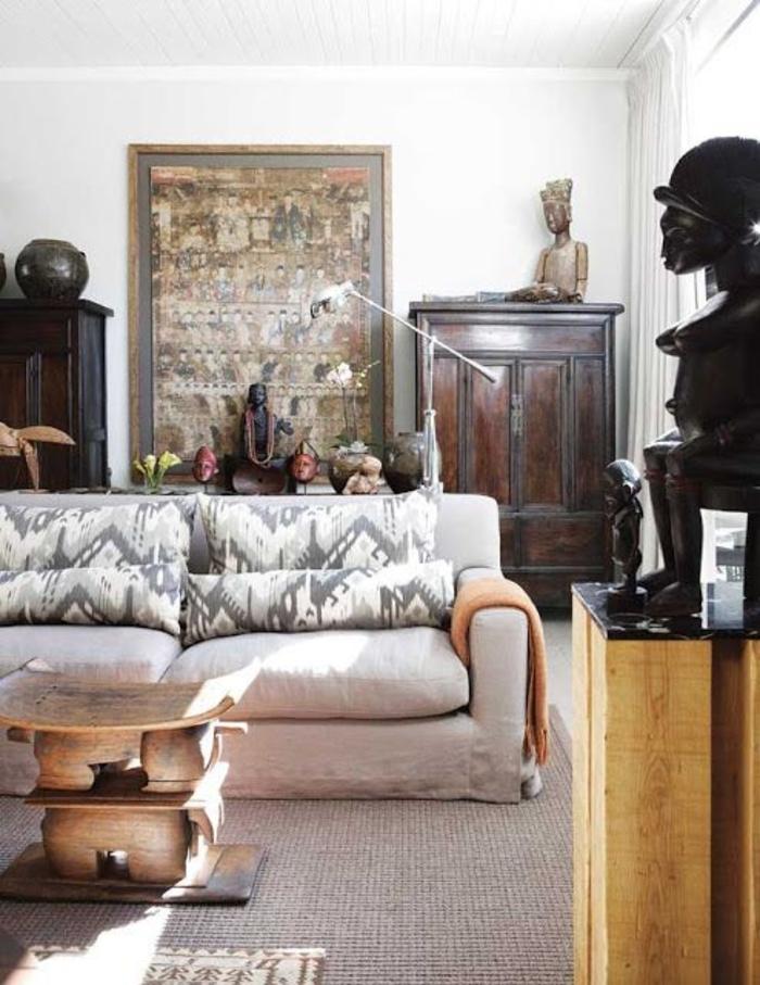 comment adopter le style africain dans le salon, des objets d'art tribal