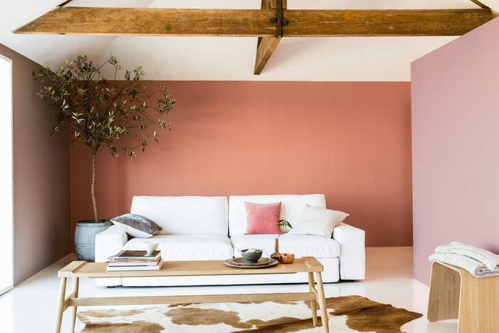 salon chaleureux qui combine le charme rustique et le style moderne, murs couleur sienne associés au plafond en poutres de bois apparentes