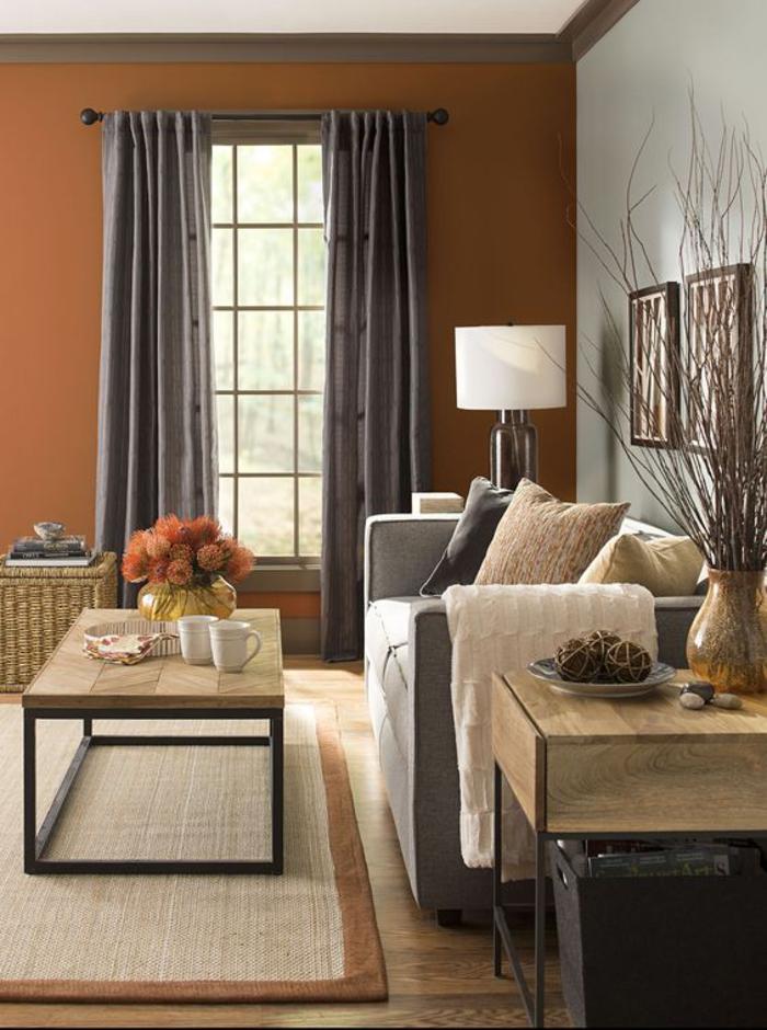 peinture terre sienne, rideaux longs en gris, tapis beige, bouquet de fleurs oranges