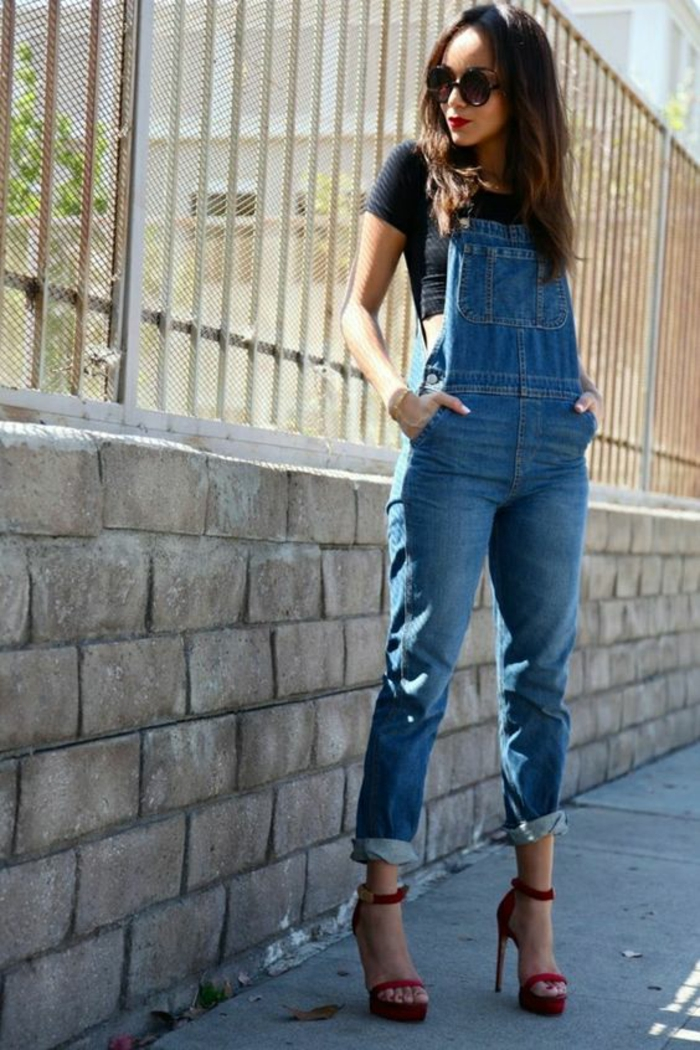 Tenue salopette en jean femme salopette habillée tenue de jour sandales