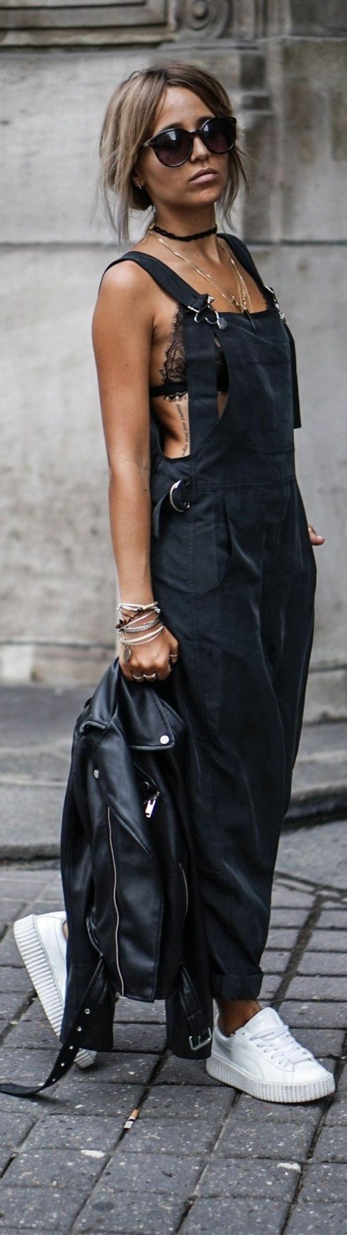 Vintage mode salopette pantalon salopette en cuir