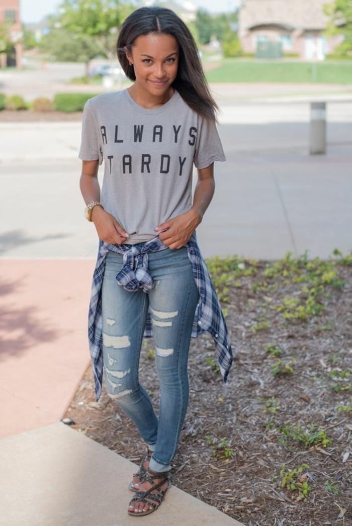 Superbe tenue swag jupe idee tenue classe femme tenue jean déchirée