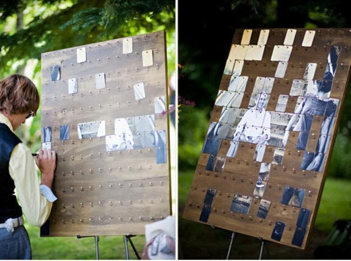 Tableau du mariage idee livre d or scrapbooking diy mariage original photos pour créer un puzzle