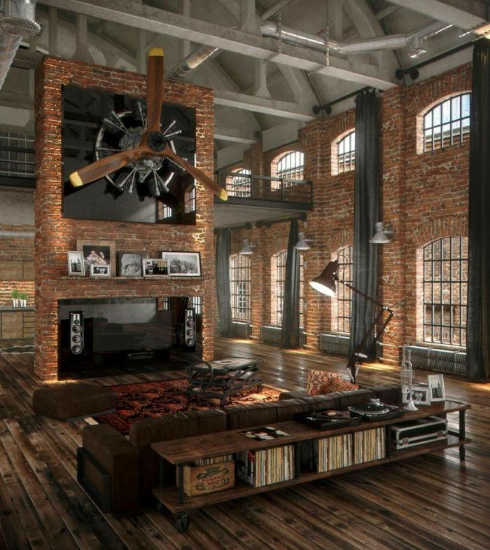 decoration industrielle, ventilateur en bois, cadres photos en famille, livres, table basse en bois, tabouret marron