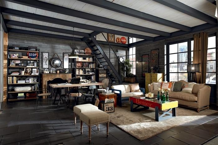 decoration industrielle, tabouret bmanc, table en verre, armoire jaune, coussins décoratifs, rideaux marron