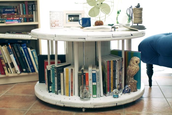 que faire avec un touret, idée de table basse avec espace de rangement pour livres et accessoires deco