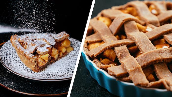 dessert sans sucre et sans gluten, tarte aux pommes et cannelle avec pâte sans gluten, idée de dessert sain pour menu équilibré