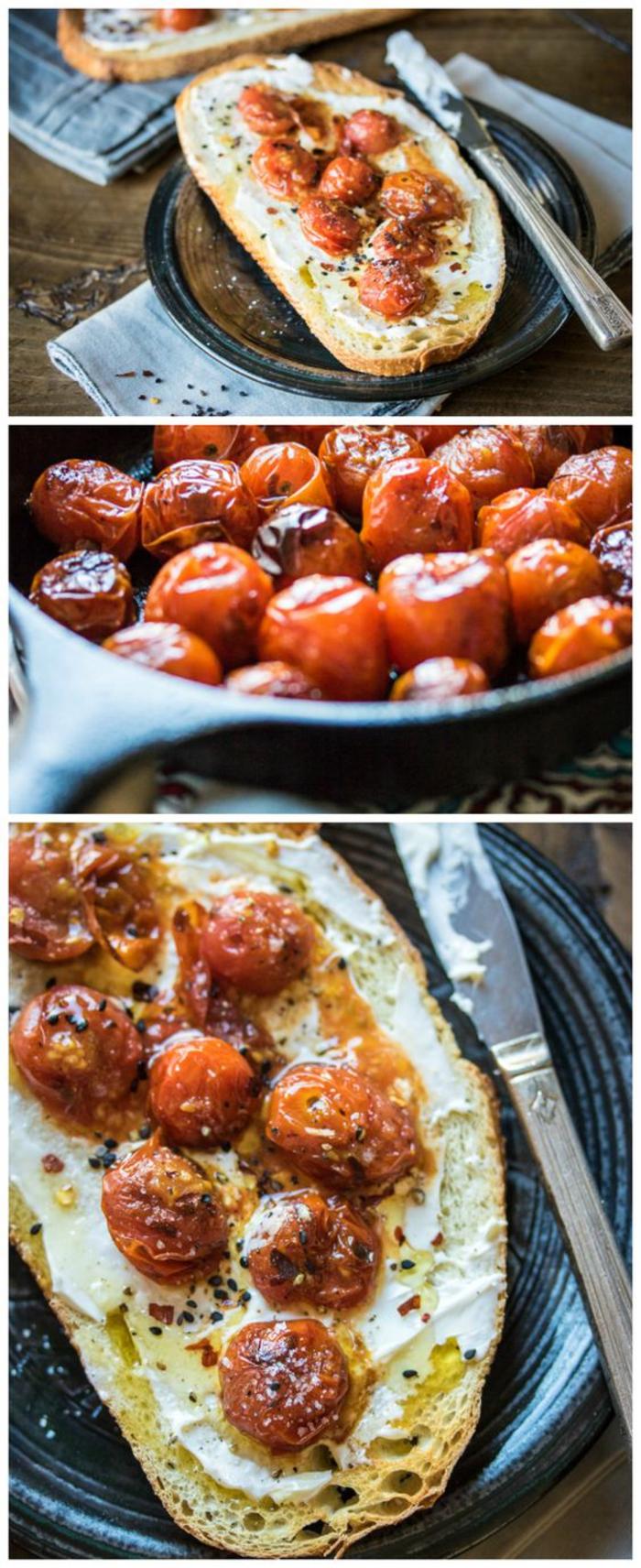 recette de tartine italienne ultra facile aux tomates cerises poêlées et au mascarpone
