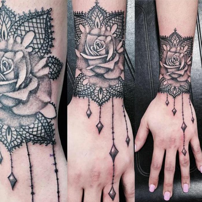 tatouage bracelet, bracelets tatoués sur les poignets, pendentifs en forme de diamants