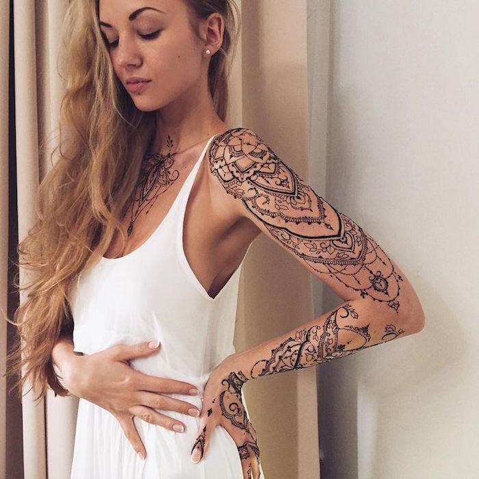 tatouages bras femme mandala tattoo entier style bijoux