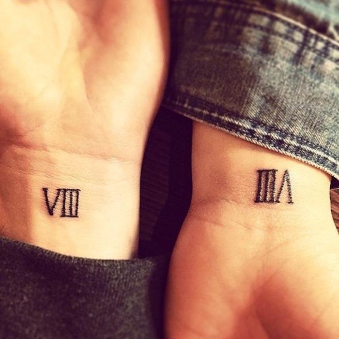 idée tatouage en chiffre romain tatouages chiffres romains tattoo couple