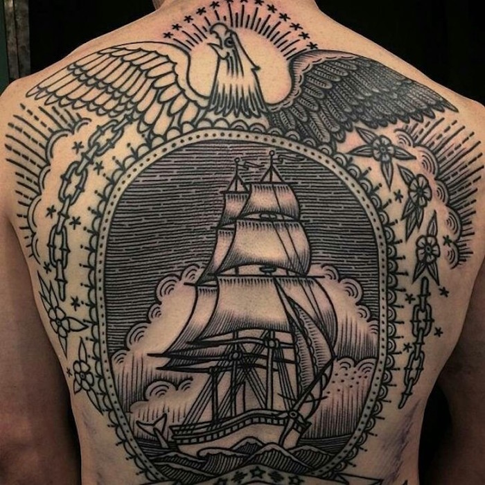 tatouage dos homme entier grand tattoo back bateau old school