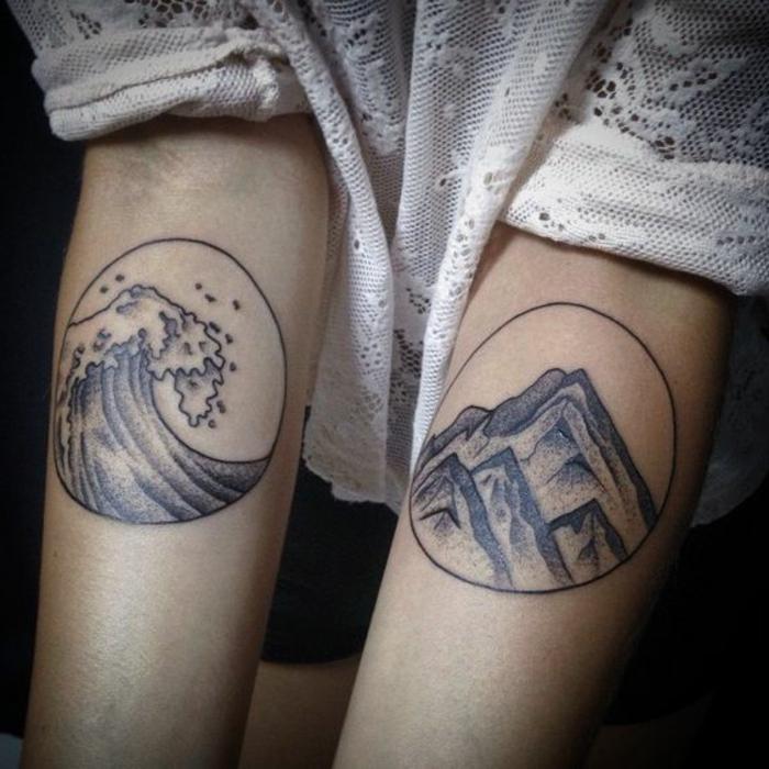 tatouage fin femme, paysages illustrés sur les deux bras, vagues de mer et montagne