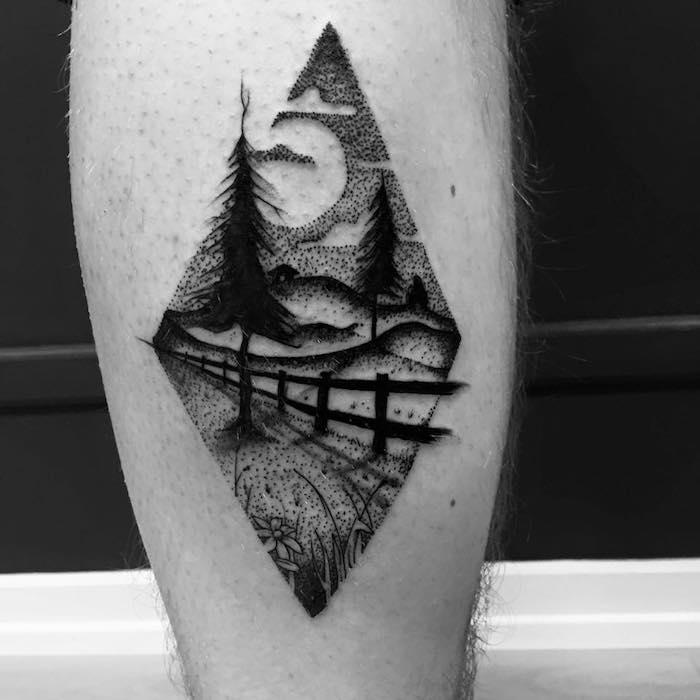les plus beaux tatouages, tatouage sur jambes, motifs natures, paysage, montagnes, tatouage homme
