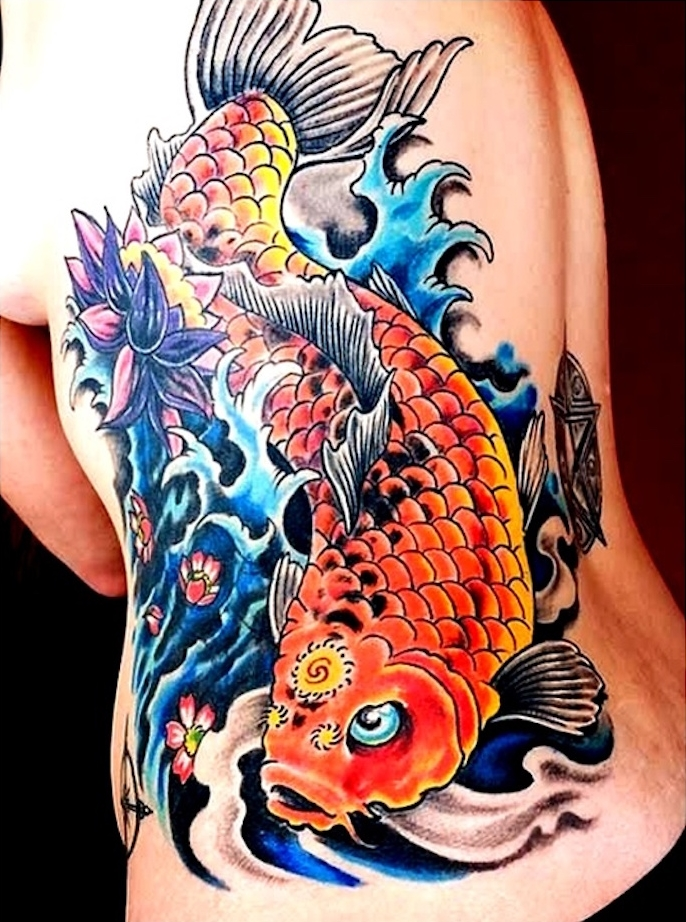 1001 id es irezumi ou le tatouage japonais traditionnel for Carpe koi bleu