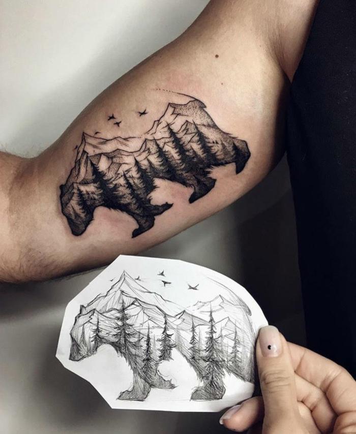 tatouage montagne, ours et montagne, oiseaux volants, paysage de nature mystique