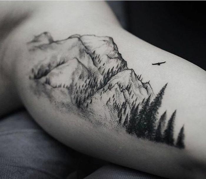 1001 dessins originaux de tatouage montagne. Black Bedroom Furniture Sets. Home Design Ideas