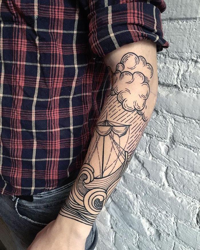 les plus beaux tatouages homme avant bras tattoo nuage tempete bateau mer