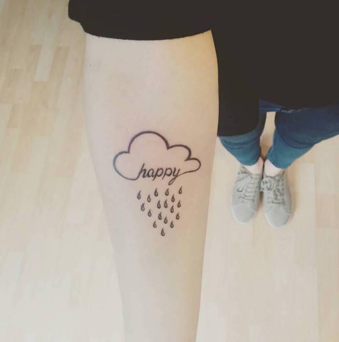 idée tatouage femme bras discret tattoo nuage pluie happy