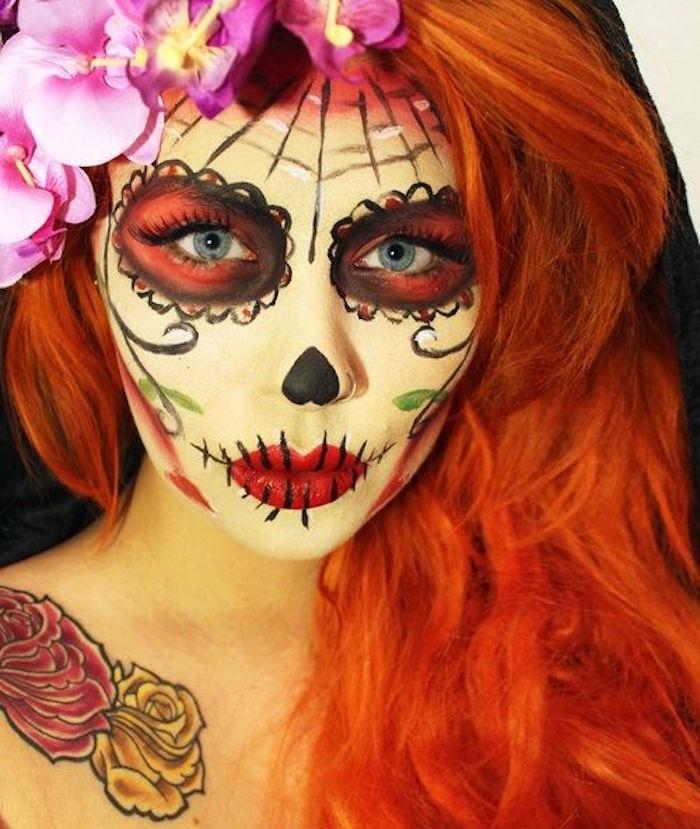 maquillage calavera femme squelette calavera style candy skull