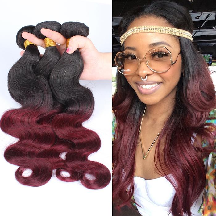 couleur de cheveux rouge, extension cheveux longs, rajouts ombré en noir et rouge, piercing nasal