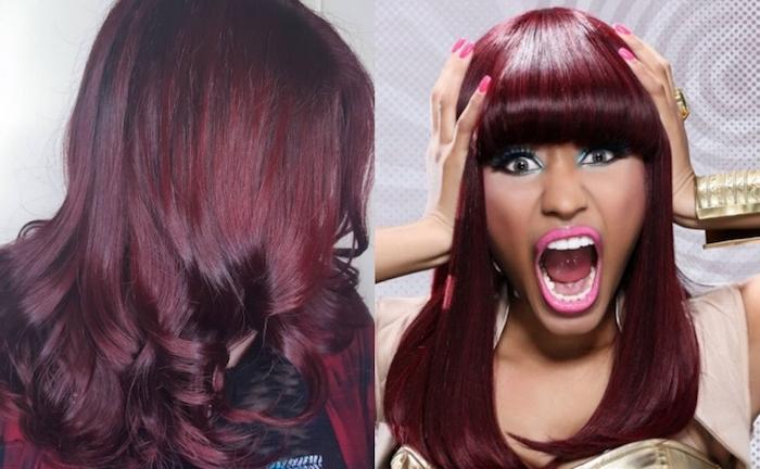 couleur de cheveux rouge, chemise bordeaux femme, cheveux bouclés sur les extrémités, crayon yeux turquoise, nicki minaj