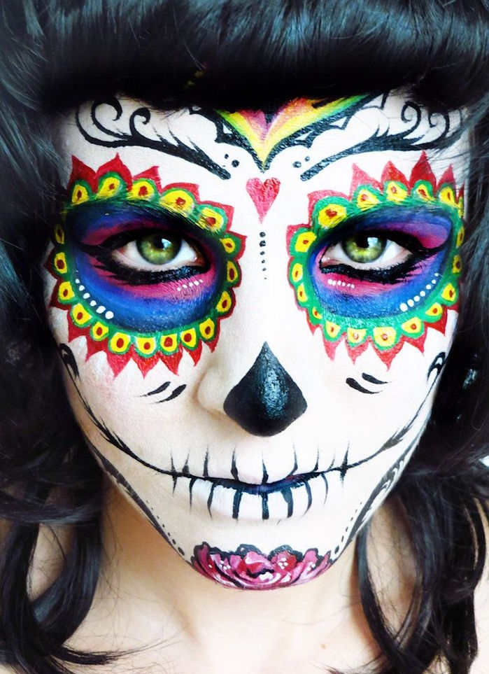 1001 id es maquillage squelette mexicain l 39 art du candy skull. Black Bedroom Furniture Sets. Home Design Ideas
