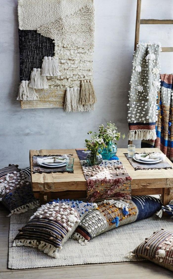 un linge de maison ethnique chic en laine à inspiration marocaine