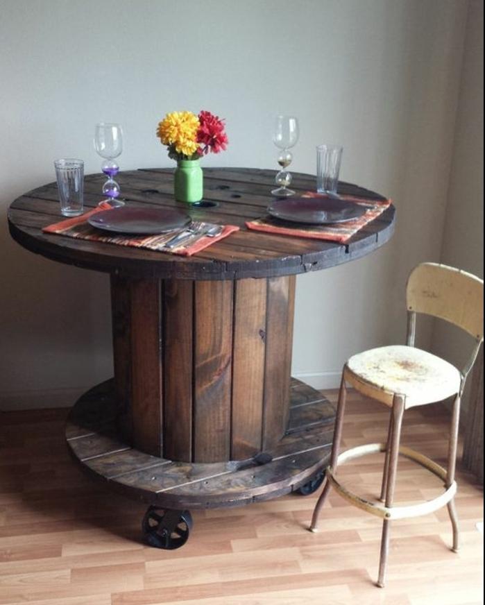 deco industrielle, touret bois brut dans la salle à manger, table à roulettes fonctionnelle, chaise en metal