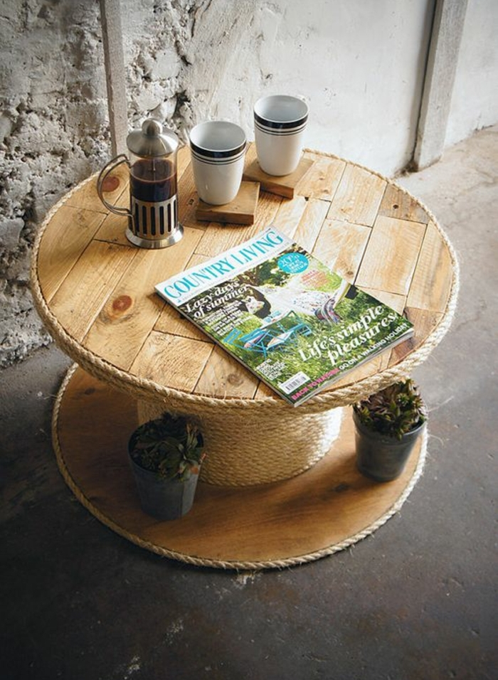 touret deco, table basse avec de la corde enroulée autour, pause thé, rangement plantes, tasses à café et cafetiere, décor industriel