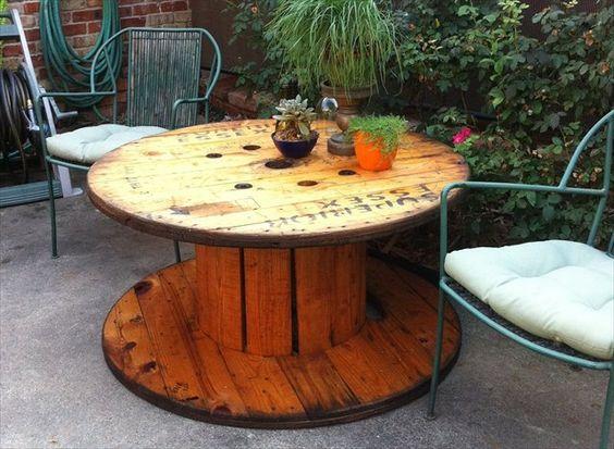 table en touret dans un jardin, plantes vertes, chaises metalliques et coussins de chaise, cour arriere maison