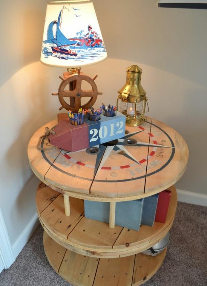 touret bois deco, tabl esprit bord de mer, à trois niveaux, lampe thematique, rangement decoration marine