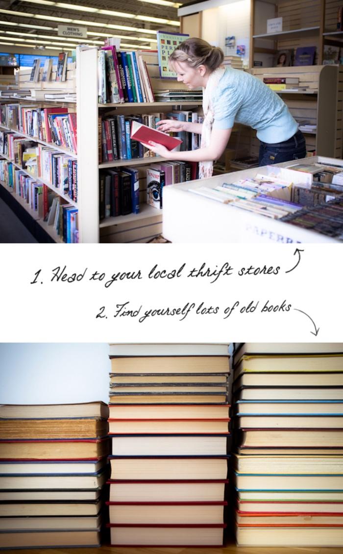 fabriquer une tete de lit soi meme, premier étape, trouver des livres, bouquins, diy deco chambre