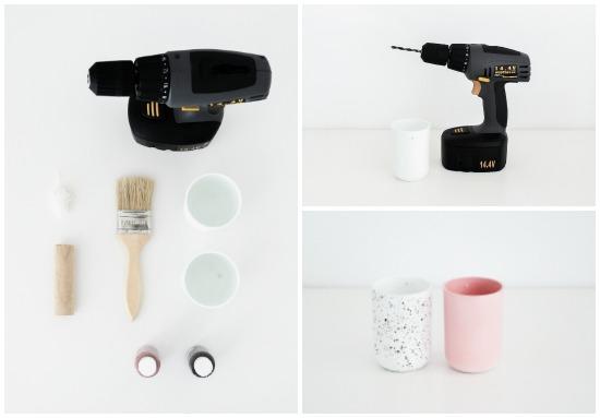 idee de bricolage facile et rapide, diy rangement, perceuse, pinceau, peinture acrylique, verres en plastique