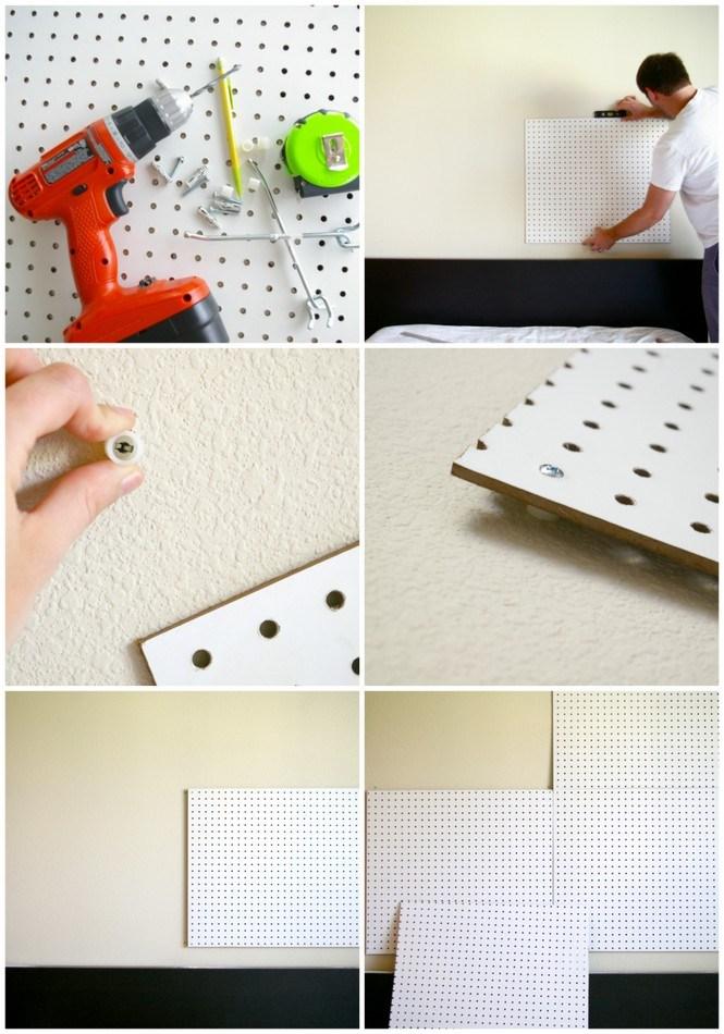 faire une tete de lit soi meme à partir un panneau perforé, idée de bricolage facile, tutoriel, assembler et accrocher les panneaux