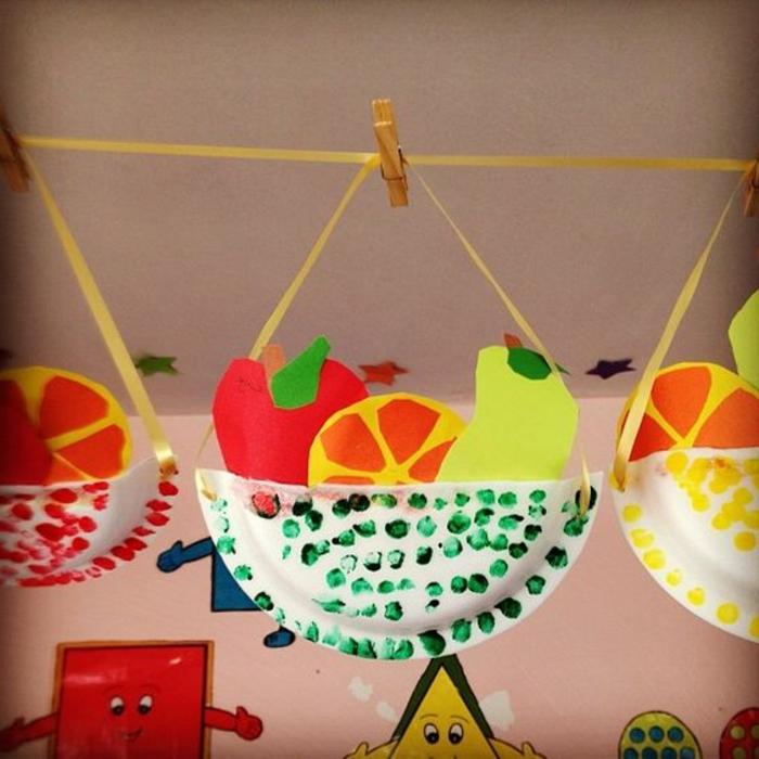un panier en assiette en papier avec des fruits en papier rangés dedans, activité manuelle primaire pour enfants, loisirs creatifs