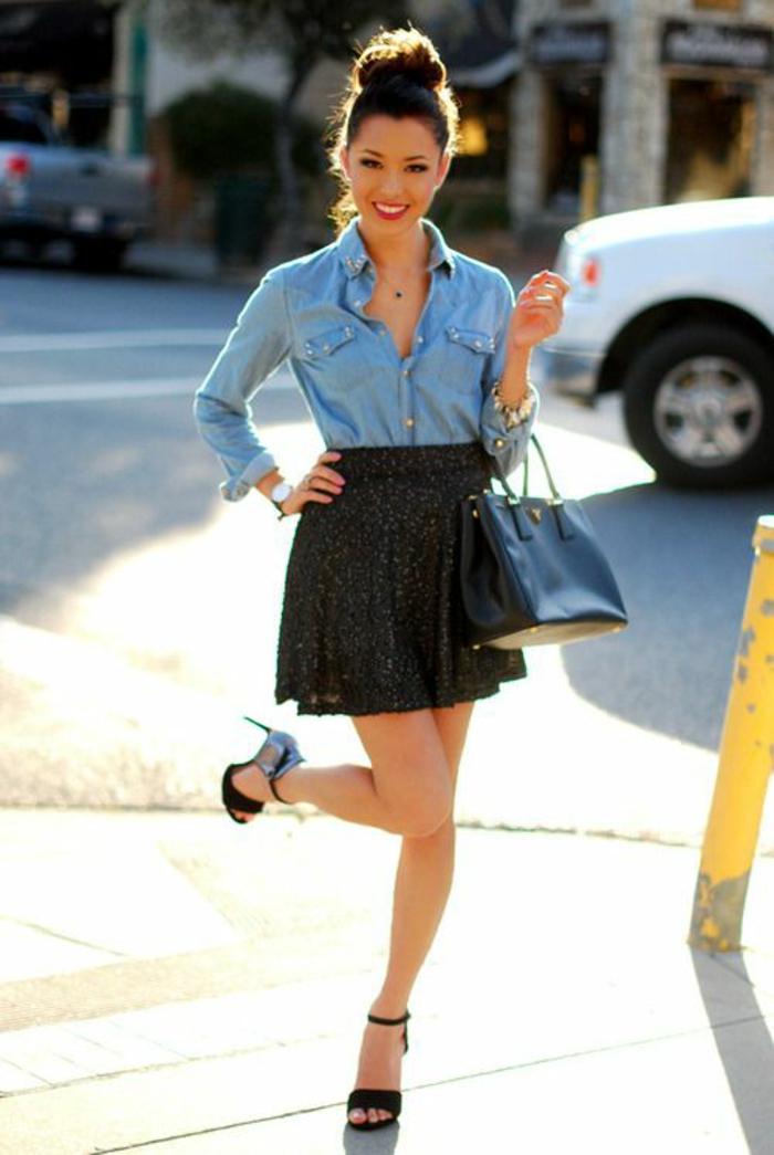1001 images de la tenue avec chemise en jean - Que mettre avec un jean bleu ...