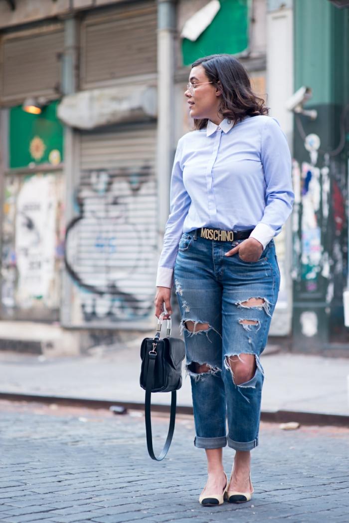 Comment s habiller pour etre a la mode tenue swag jupe chemise bleu