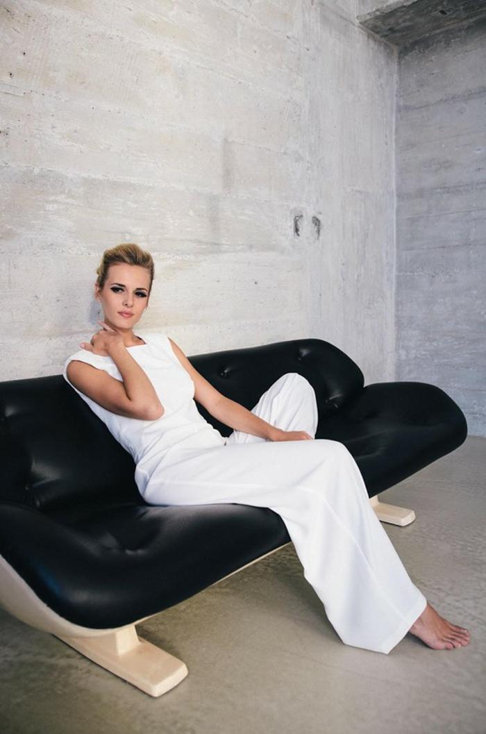 Eclatante robe de mariée couleur robe de marié sirene simple belle en pantalon blanc salopette