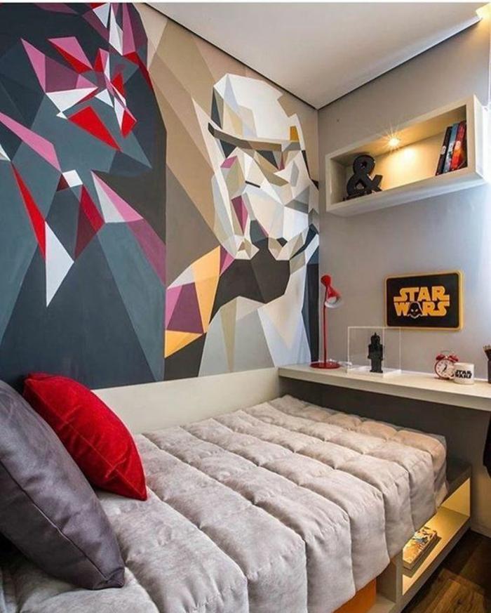 deco chambre adulte au thème Star Wars enfant ou ado couleurs pimpantes Darth Vader au mur peint de manière abstraite