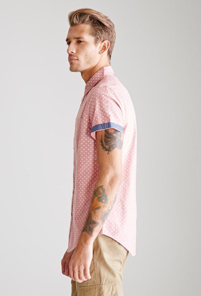 chemisette homme rose pois blancs manche courte hipster